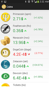 screenshot of All Coins -Live Bitcoin Prices version 1.1.0