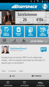 screenshot of BodySpace - Social Fitness App version 1.5.0.debac05