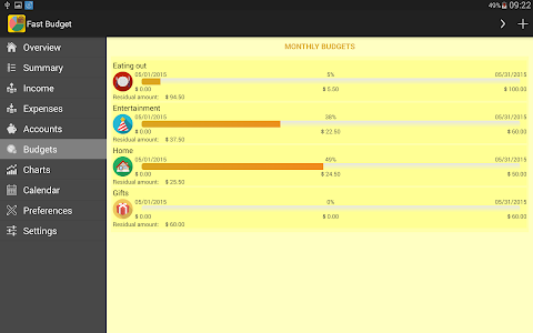 screenshot of Fast Budget - Expense Manager version 2.2.5