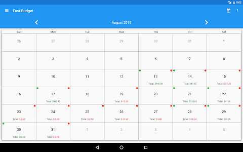 screenshot of Fast Budget - Expense Manager version 4.5.0