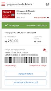 screenshot of Hipercard Controle seu cartão version 2.3