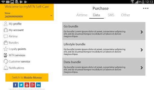 screenshot of MyMTN version 2.2.2