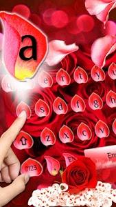 screenshot of Red Rose Flower Keyboard Theme version 10001007