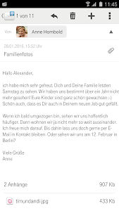 screenshot of Telekom Mail version 1.5.4