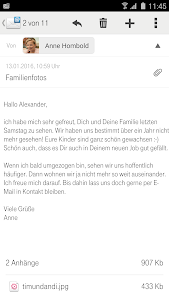 screenshot of Telekom Mail version 1.2.3