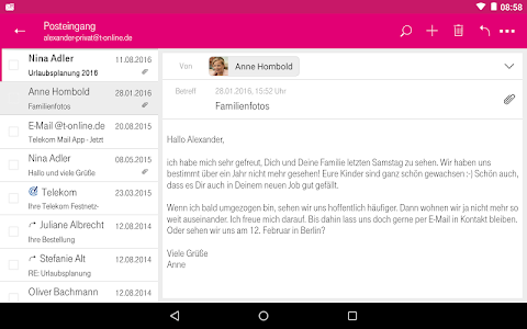 screenshot of Telekom Mail version 1.9.6