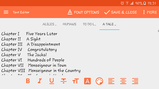 screenshot of Text Editor version 1.7.b35